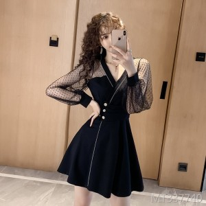 Collared lace feather temperament dress