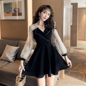Suit collar embroidered lace feather temperament dress