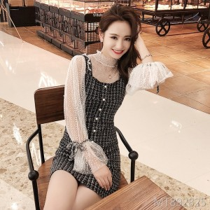 2019 new lace lantern sleeves small fragrance windworn dress two-piece
