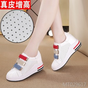 Leather high casual white shoes flat sneakers