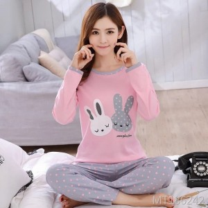 Spring and autumn wear loose ladies suit pajamas women's two-piece suit