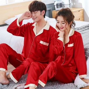 Couple simulation silk pajamas silk wedding long-sleeved home service