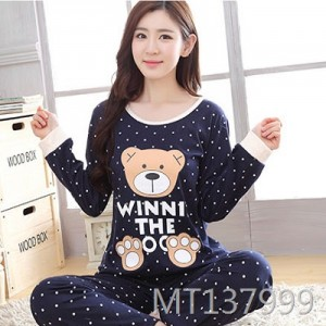 Cotton ladies casual cartoon pajamas home service comfort suit