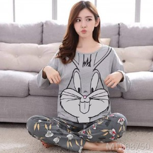 Cotton long-sleeved Korean home service suit ladies cotton two-piece