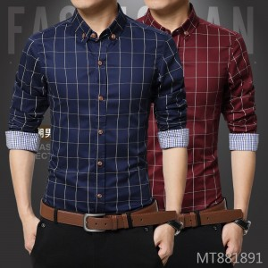 New autumn men's long-sleeved shirt slim silky cotton shirt