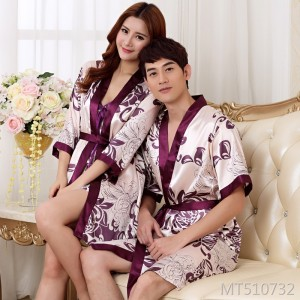 Spring and Autumn Summer Simulation Silk Couple Nightgown Bathrobes Bath