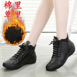 New lace leather cowhide shoes casual shoes flat bottom