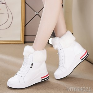 High-top belt casual sports single shoes female leather increased cotton shoes