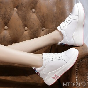 Leather casual sports single shoes women's platform lace-up shoes