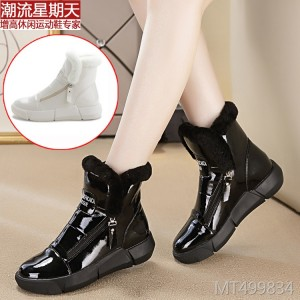 Mid-tube flat snow boots women's casual sports side zipper cotton boots