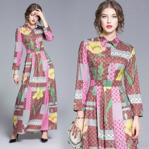 Waist slim slimming positioning print dress
