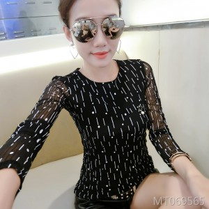Mesh material slim slimming wild bottoming shirt long sleeve female tide