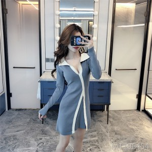 Temperament long-sleeved bottoming dress low-cut POLO knitted sexy skirt