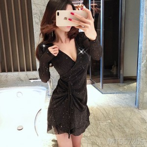V-neck drawstring lace sequined A-line skirt temperament slim dress