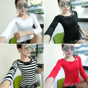 Slim Korean version of the shoulder embroidery letter long sleeve bottoming shirt female tide