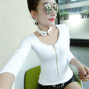 Slim slim Korean version with necklace bottoming shirt female tide
