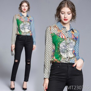 Fashion wild waist slimming positioning printed shirt