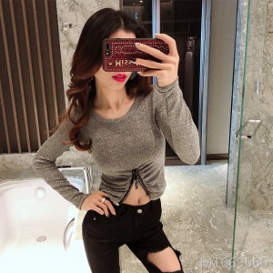 Slim shirt, umbilical slit, short t-shirt, nightclub, sexy female