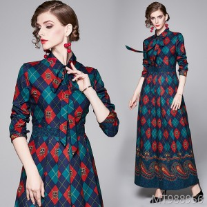 Fashion waist slimming positioning print dress