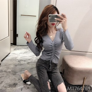 Slim-fit chest long-sleeved sweater drawstring short top