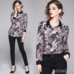 Joker waist slimming positioning printed shirt