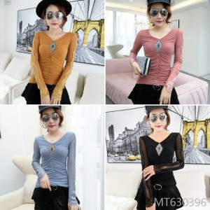 Slim-fit bright mesh gauze long-sleeved bottoming shirt Korean version of the small shirt female tide