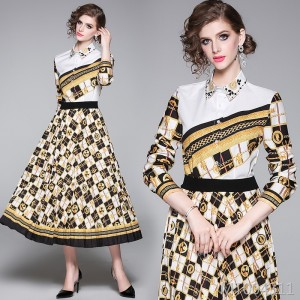 Printed shirt + pleated skirt set (two sets)
