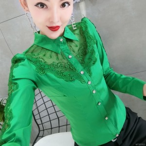 Slim lace hollow hot drilling fashion long-sleeved shirt female tide
