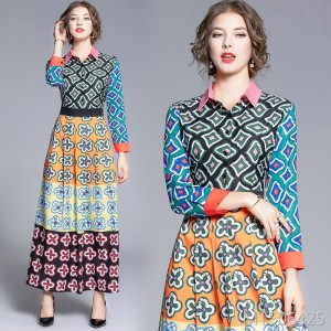 Waist slim star with the same positioning print dress