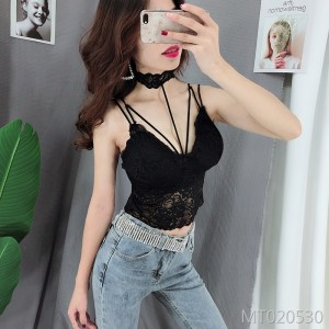 Stitching hanging neck wrap chest wild bottoming shirt sling female