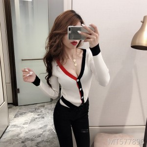 Slim contrast color sweater V-neck sexy bottoming long-sleeved cardigan women