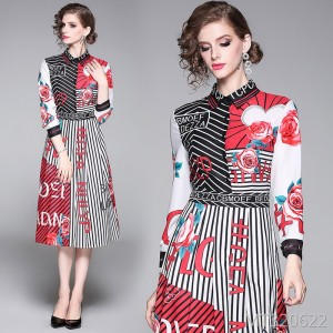 Waist slimming positioning print dress