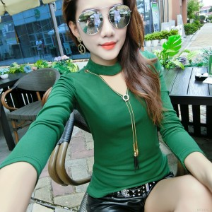 Slim band necklace fashion cotton Korean long-sleeved bottoming shirt women