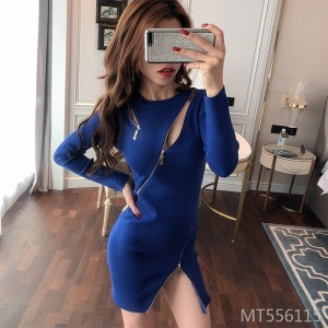 Zipper slit dress Slim bag hip bottoming sweater short skirt