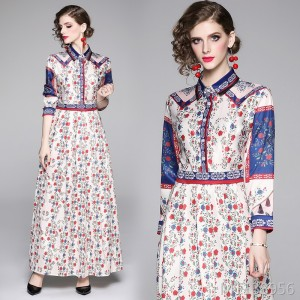 Slim-fit versatile slimming print dress