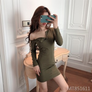 One-neck sexy slim bag hip dress buttoned temperament long-sleeved skirt
