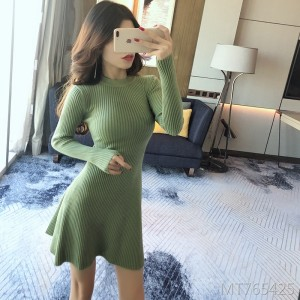 Autumn and winter knit padded dress wild bottoming sweater skirt