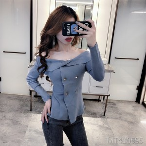 Temperament one-shoulder slim double-breasted long-sleeved sweater