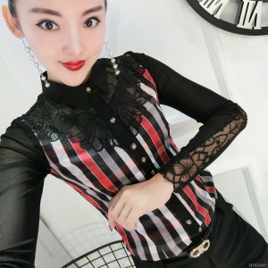 Slim lace 镂 air quality long sleeve bottoming shirt female tide