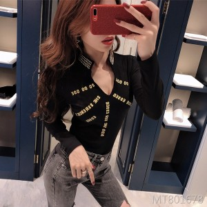 Fashion bottoming shirt top collar hot drilling sexy long-sleeved t-shirt female