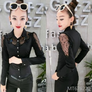 Hollow heavy work beaded long-sleeved shirt Slim bottoming shirt female tide