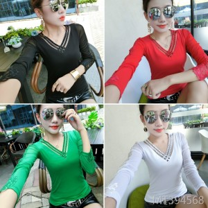 Fashion V-neck slim small shirt hot drilling long-sleeved bottoming shirt female tide