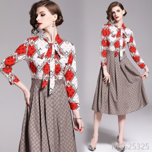 Slim-fit waist and slim positioning print dress