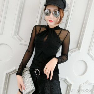 Sexy mesh long-sleeved shirt Korean version of the European goods small shirt female tide