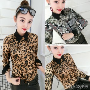 Korean version of the print leopard small shirt bottoming shirt female tide