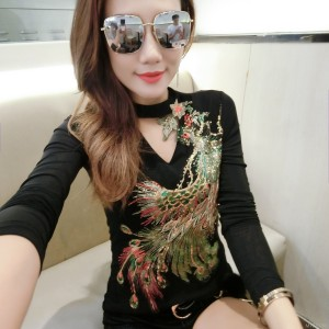 Personality sequins Phoenix flower long sleeve bottoming shirt tide