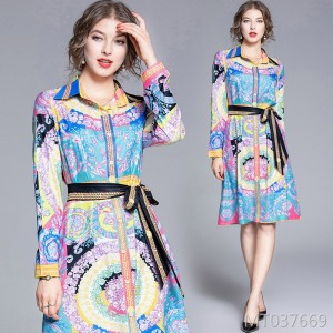 Wild loose large size positioning printed shirt collar dress