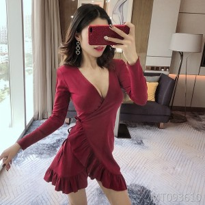 Sexy Slim Low-cut V-neck Dress Chest Long Sleeve Short Skirt Women