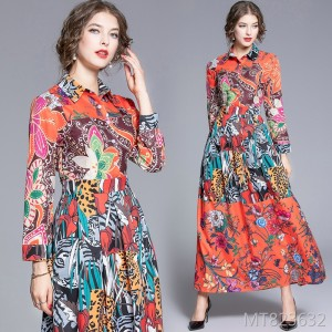 Slim and slim versatile positioning print dress