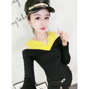 Colorblock off-the-shoulder small V-neck slim wild long-sleeved T-shirt female tide